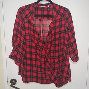 Red Black Blouse